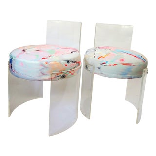 Lucite Barrel Chairs - a Pair For Sale