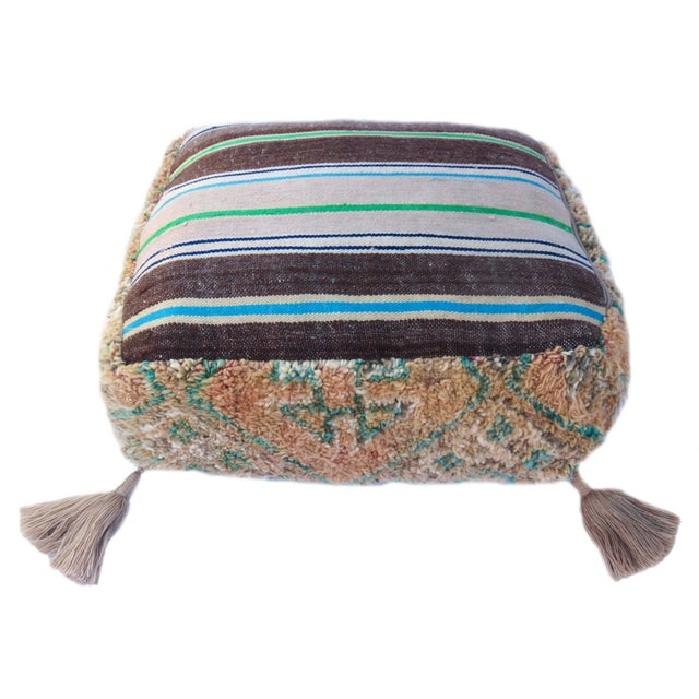 Textile Vintage Mid Century Honey and Green Moroccan Pouf For Sale - Image 7 of 8