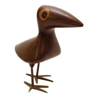 Karl Hagenauer for Wiener Werkstätte Inlaid Mahogany and Bronze Bird For Sale