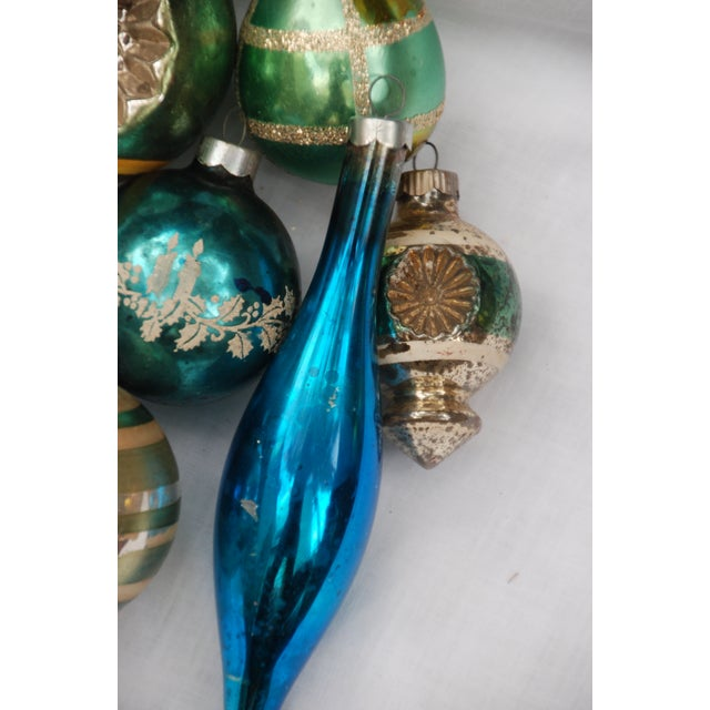 Vintage Blue and Green Glass Ornaments - Set of 11 - Image 5 of 10