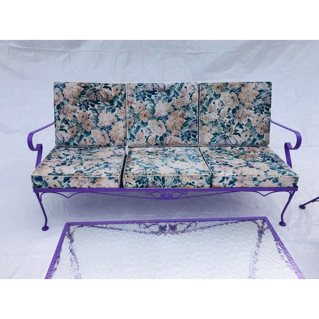 Mid-Century Modern 5-piece iron patio set with new violet paint, feet-glides. Original seat cushion upholstery (1-hole...