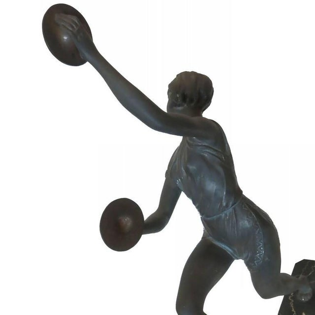 Art Deco Art Deco Alliot Style Bronze Figural Statue of a Dancer with Cymbals For Sale - Image 3 of 6