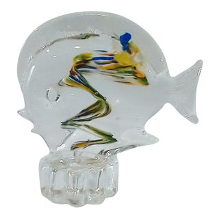 Mid 20th Century Murano Style Italian Blown Glass Art Fish Paperweight For Sale