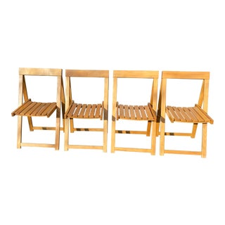 Vintage Maple Folding Chairs - Set of 4 For Sale