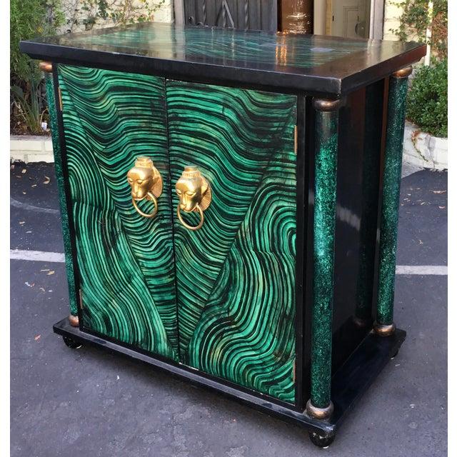 Vintage Mid Century Modern Faux Malachite Cabinet & Mirror - Image 8 of 8