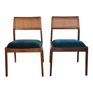 1950s Mid-Century Modern Green Velvet Teak Side Chairs - a Pair For Sale
