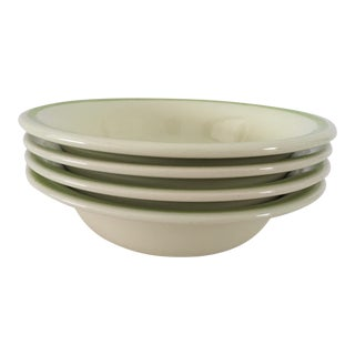 "Vintage Franciscan Daisy Pattern Soup Bowls (4) 7""Dia. Green/Yellow C.1950's Excellent For Sale"