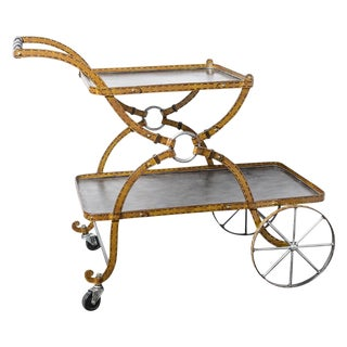 Mid-Century Faux Leather Iron Two tTier Bar Cart, Rare For Sale