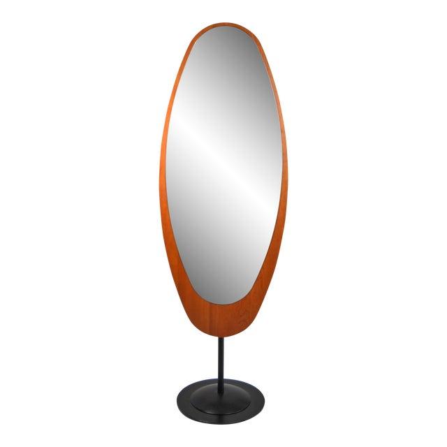 Mid-Century Italian Standing Floor Mirror For Sale