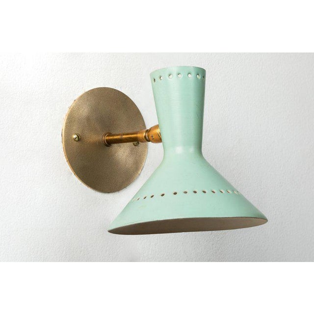 Italian 1960s Italian Perforated Double-Cone Sconces in the Manner of Arteluce - a Pair For Sale - Image 3 of 11