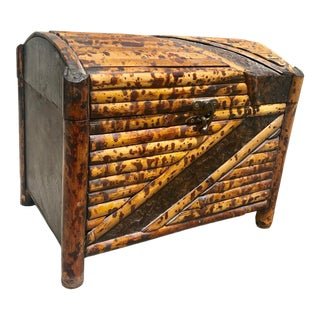 Vintage Bamboo and Metal Trunk For Sale