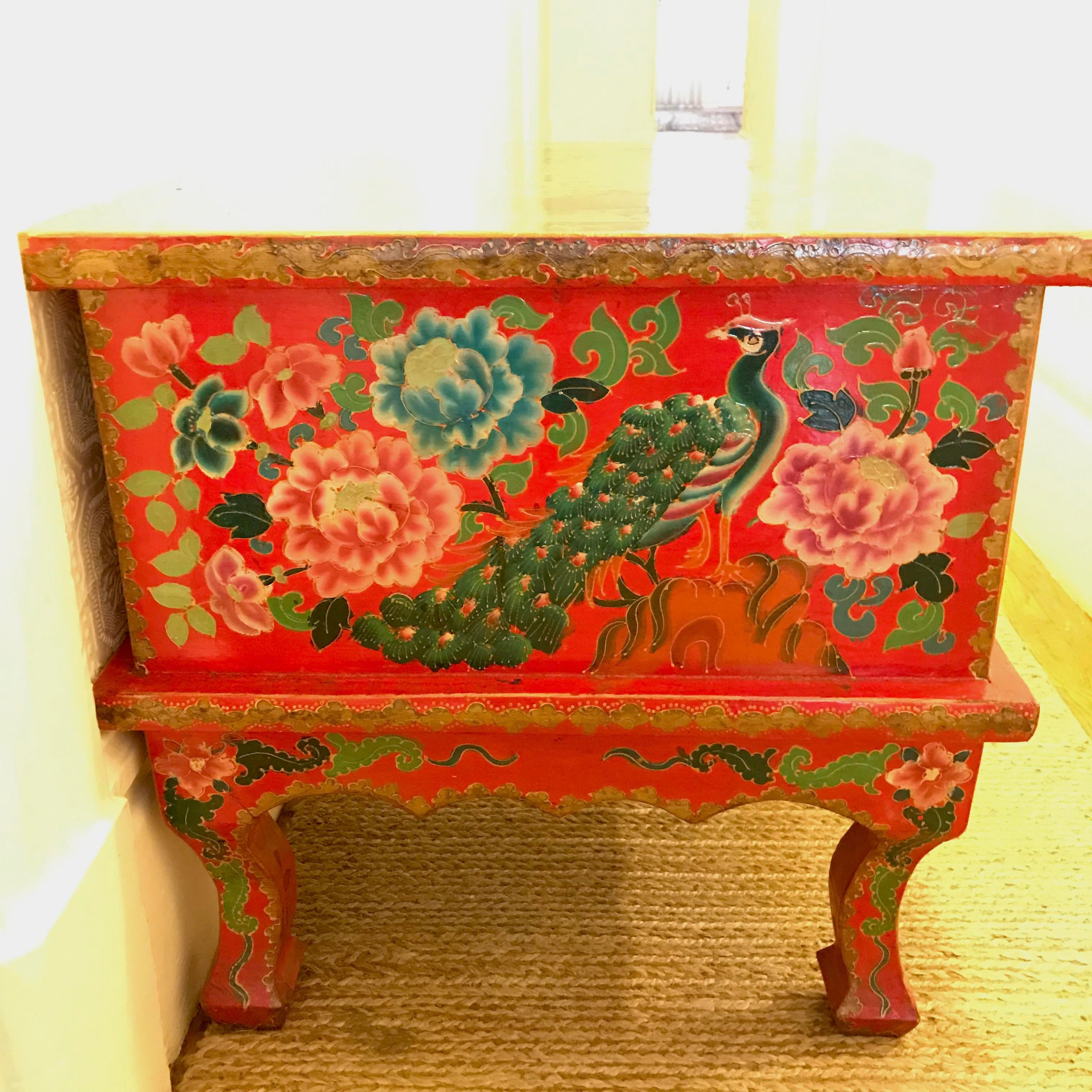 Red Lacquer Chinese Side Table   Image 5 Of 6
