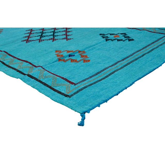 Vintage handwoven Moroccan cactus silk Berber kilim with geometric shapes and symbols. Silky soft texture!
