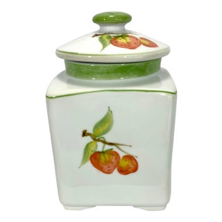 Ceramic Strawberry Motif Tea Caddy For Sale