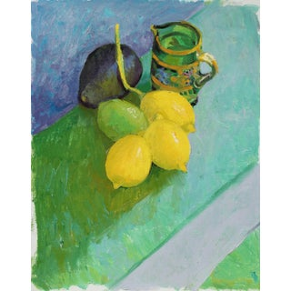Still Life With Lemons and Avocado, Oil Painting, Late 20th Century