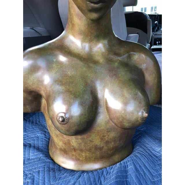 Gold 1940s Art Nouveau John Destefano Female Bronze Nude Sculpture For Sale - Image 8 of 11