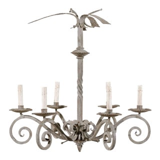 Vintage French Six-Light Light Grey Painted Iron Chandelier with Scrolled Arms For Sale