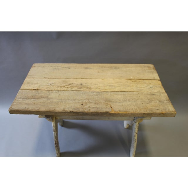 Bleached Pine Table With Trestle Base For Sale - Image 5 of 7