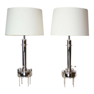 Nickel Plated 1950's Lamps - A Pair For Sale