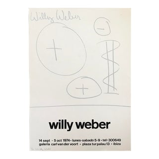 1974 Mid-Century Modern Willy Weber Signed Silk Screen Gallery Poster For Sale