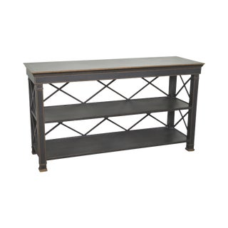 Regency Style Black & Gold Painted Etagere Console (A)