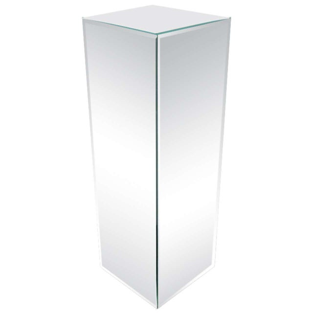 Glass Modernist Hand Beveled Mirrored Pedestal For Sale - Image 7 of 7