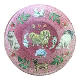 Image of Victorian Dog Themed Glass Plate For Sale