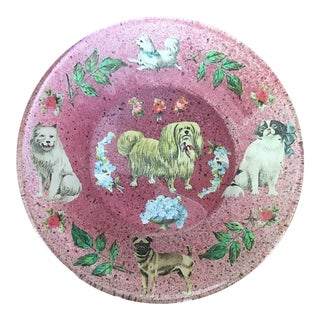 Victorian Dog Themed Glass Plate For Sale