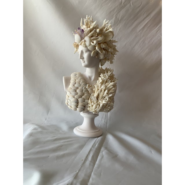 Glass Cast Marble Shell Diana Bust Sculpture For Sale - Image 7 of 13