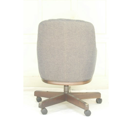 Chesterfield-Esque Tufted Wool Office Chair For Sale - Image 4 of 4