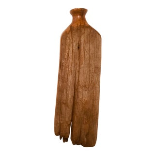 1960s Mid-Century Primitive Style Wall Hanging Wood Weed Pot For Sale