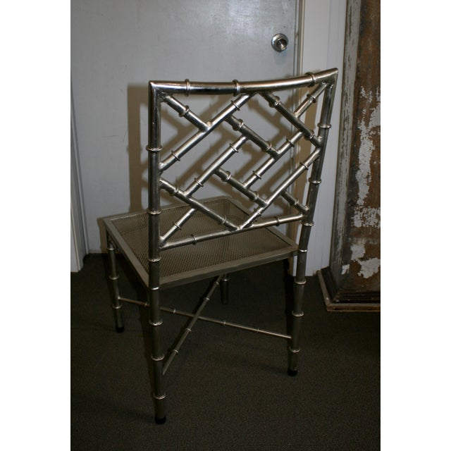 Nickel Bamboo Side Chair - Image 5 of 7