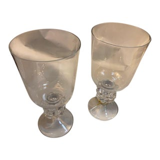 Lalique Candle Holder, Grapevine Form With Hurricane Shade - a Pair For Sale