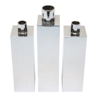 Hans-Agne Jakobsson Swedish Chrome-Plated Candle Holders - Set of 3 For Sale