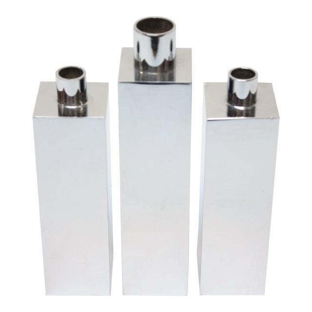 Hans-Agne Jakobsson Swedish Chrome-Plated Candle Holders - Set of 3 - Image 1 of 11