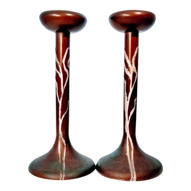 Heintz Sea Grass Bronze Candlesticks - A Pair For Sale