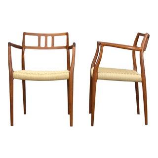 Niels Otto Møller for J. L. Møllers Teak No. 64 Arm Chairs - a Pair