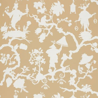 Schumacher Shantung Silhouette Print Wallpaper in Sand For Sale