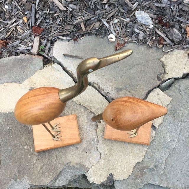 Brass & Wood Crane Figurines - A Pair For Sale - Image 10 of 11