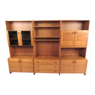 Scandinavian Modern Teak Wall Unit For Sale