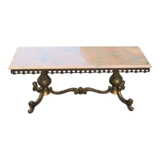 Monumental French Maison Jansen Coffee or Cocktail Table Bronze Rectangular With Onyx Top Circa 1940s