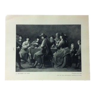 "Circa 1940 ""Travelers at an Inn"" by Mathieu Le Nain a Masterpiece of Art Print For Sale"