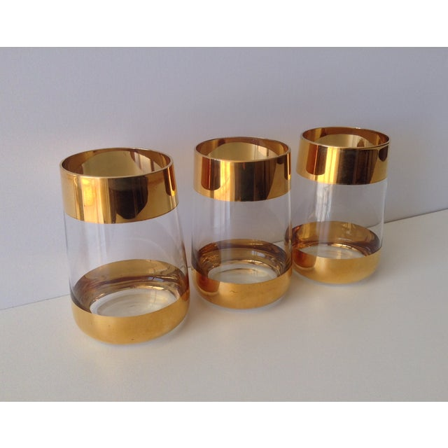 Italian 24k Gold Banded Glasses - Set of 3 - Image 4 of 8