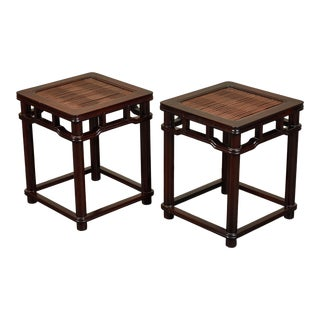 18th Century Chinese Iron Wood Tables W/ Slated Bamboo Tops - a Pair For Sale
