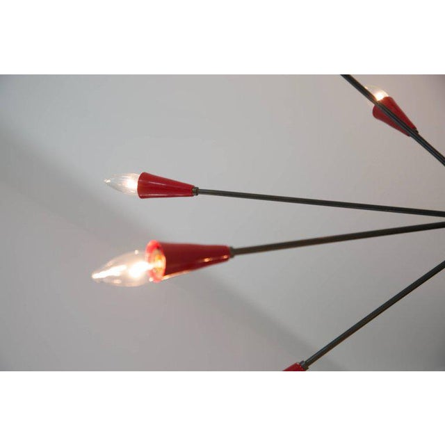 Italian Red Stilnovo Style Seventeen-Light Sputnik Chandelier, Circa 1950 For Sale - Image 10 of 11