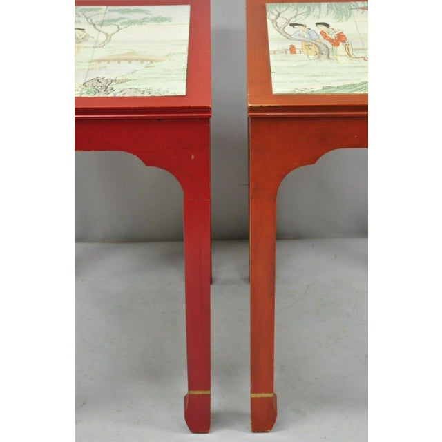 Wood Vintage Oriental Ming Style Red Wooden Side End Tables With Tile Tops - A Pair For Sale - Image 7 of 11