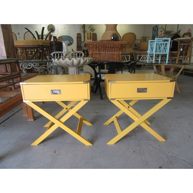 Wood Campaign Yellow Side Tables - a Pair For Sale - Image 7 of 7