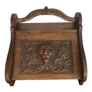 Mid 19th Century Victorian Firewood Pellet Bin Deeply Carved Lions Head Fireplace Hearth Accessory For Sale