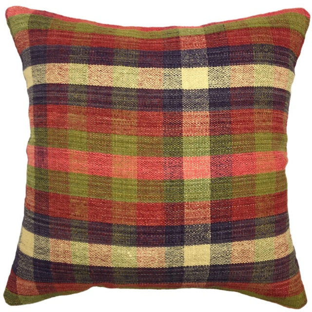 "Cabin Vintage Kilim Pillow | 18"" For Sale - Image 3 of 3"