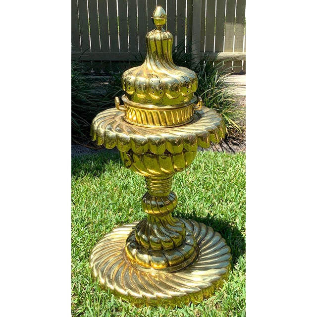 """Large Turkish spiral brass brazier, cast in four pieces, standing 44"""" high, the diameter of center column is 21"""", the base..."""